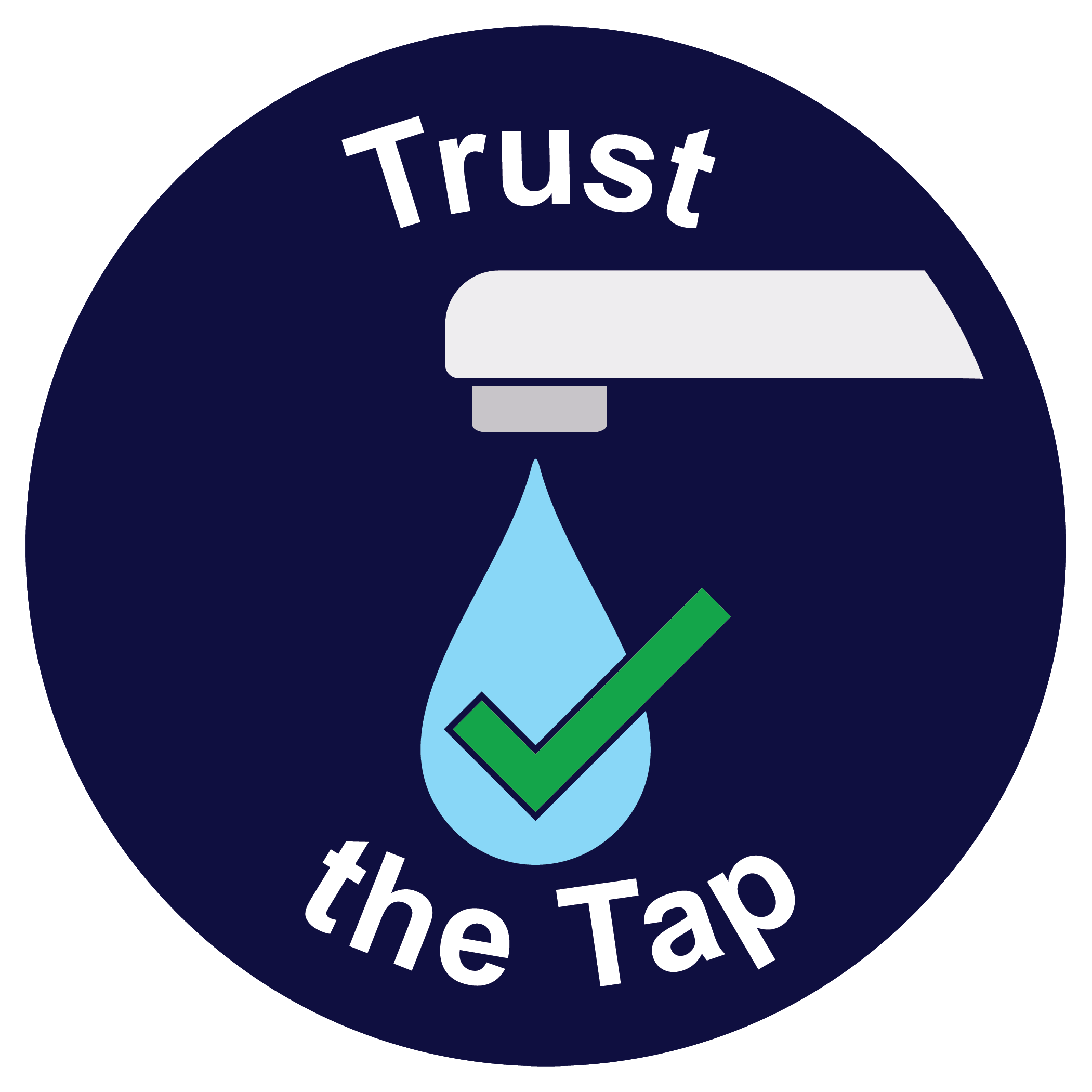 Trust the Tap logo - water drop with a checkmark coming out of a faucet